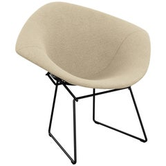 Bertoia Diamond Chair in Classic Boucle/Neutral Full Cover & Black Frame