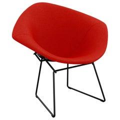 Bertoia Diamond Chair in Cato/Fire Red Upholstery Full Cover & Black Frame