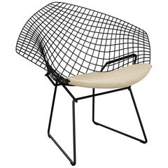 Bertoia Diamond Chair in Classic Boucle/Neutral Seat Pad & Black Frame