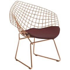Bertoia Diamond Chair with Knoll Velvet/Wine Seat Pad & Rose Gold Frame