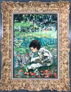 Boy In The Landscape Smelling Flowers