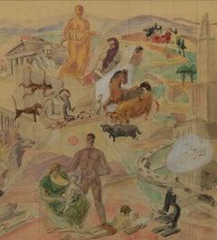 Mankind & Medicine Allegorical WPA Medical History Mural Study, Bertram Hartman