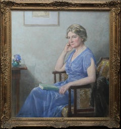 Portrait of Mrs Lindsay Scott - British art Royal Academy exhibited oil painting