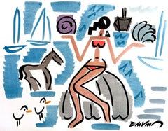 "figurative ""amphitrite with red bikini"" watercolour ink on paper blue women"