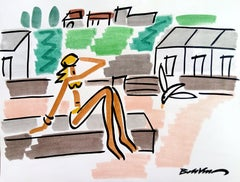 """figurative """"Bather in Normandy"""" water color and indian ink on paper"""