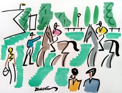 """figurative """"Before the horse race"""" watercolour ink on paper multi colored horse"""