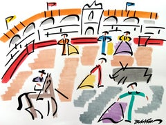 """figurative """"Corrida in Basque country """" watercolour ink on paper Matisse spain"""