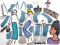 "figurative ""Elegant in Trouville"" watercolour ink on paper blue women"
