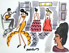 "figurative ""Flamenco in Séville"" watercolour ink on paper orange pink red  women"