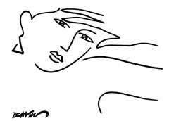 """figurative """"Naiad's head, hand on forehead """" indian ink and brushes on paper"""