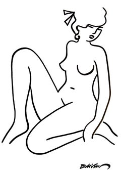 """figurative """"Naked squatting three-quarter face"""" Indian ink and brushes on paper"""