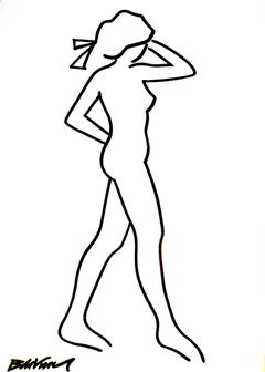 """figurative """"Naked standing in profile """" Indian ink and brushes on paper nude"""
