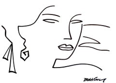 """figurative """"portrait of woman, see from 3/4 """" indian ink and brushes on paper"""