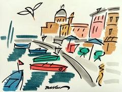 "figurative ""Procida, on the Amalfi Coast"" watercolour ink on paper multi colored"