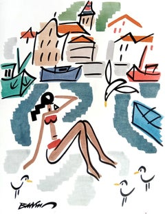 """figurative """"Red bikini in Ciboure"""" water color and indian ink on paper"""