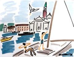 "figurative ""Sailboat in Venice sailing to St Georgio "" watercolour ink on paper"