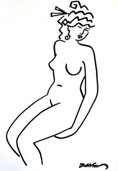 """figurative """"Sitting nude three-quarters face """" indian ink and brushes on paper"""