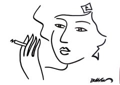 """figurative """"Smoking women"""" Indian ink and brushes on paper 50x65 cm"""