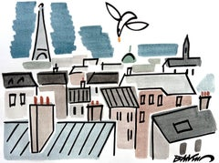 """figurative """"The roofs of Paris, the Eiffel tower"""" watercolour ink on paper"""