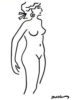 """figurative """"Three-quarter standing naked """" Indian ink and brushes on paper nude"""