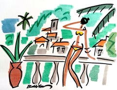 """figurative """"Woman in a yellow jersey on the Riviera """" watercolour ink on paper"""