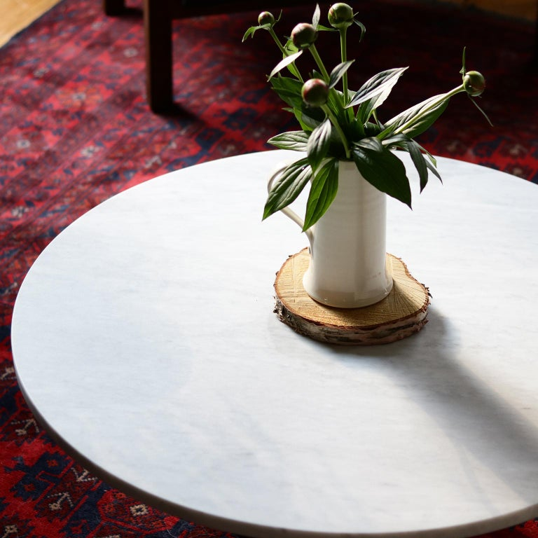 Bertrand Honed Carrera Marble and Walnut Round Coffee Table In New Condition For Sale In Cambridge, Ontario