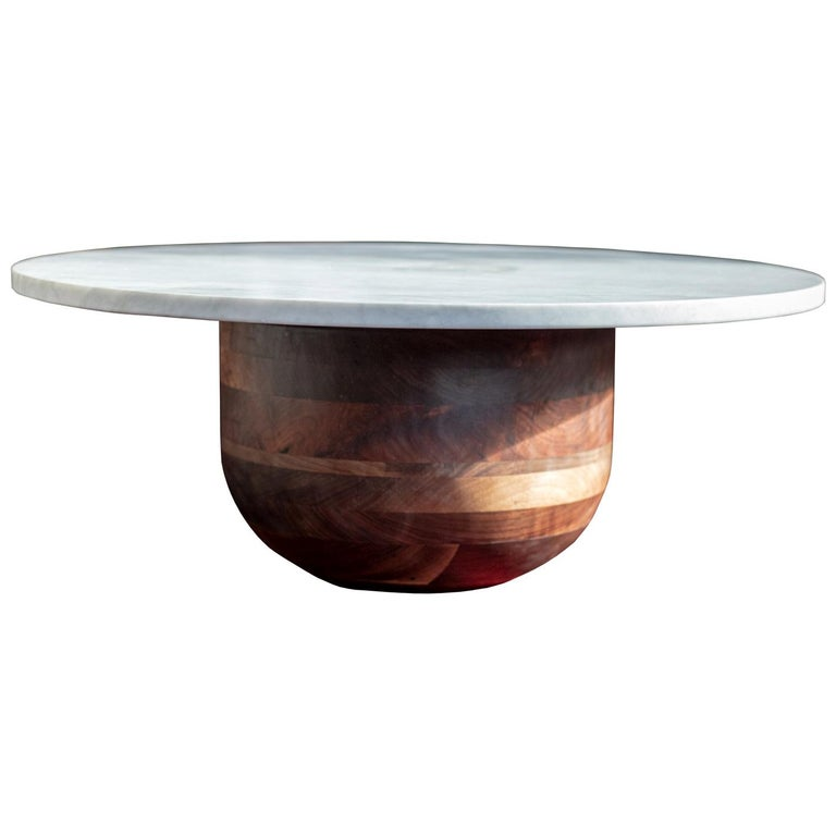 Bertrand Honed Carrera Marble and Walnut Round Coffee Table For Sale