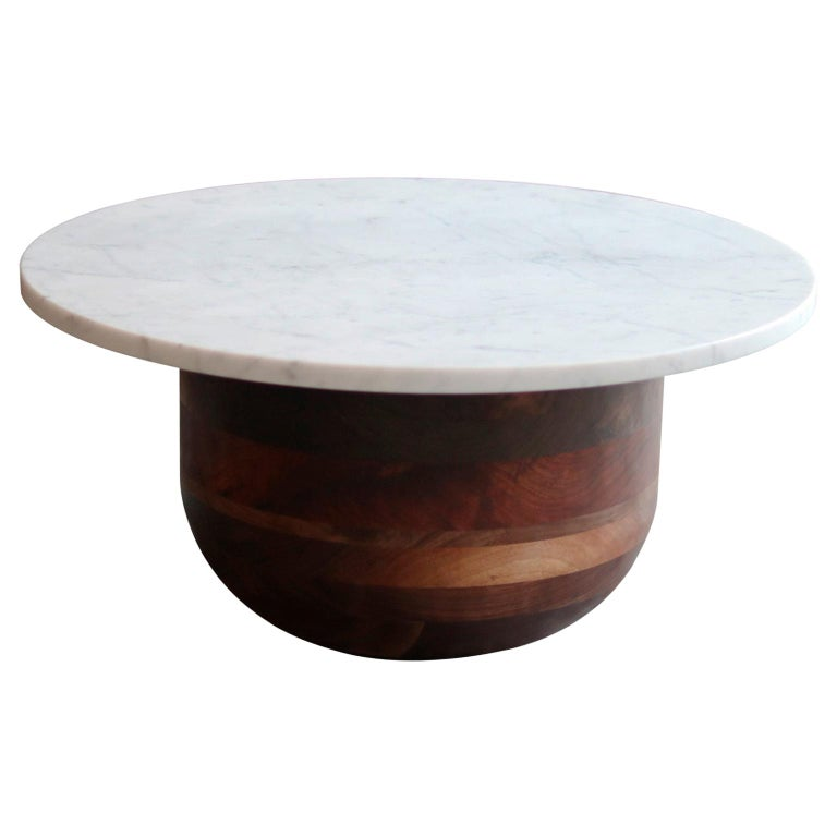 Bertrand Honed Carrera Marble and Walnut Round Pedestal Side Table For Sale