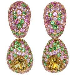 Beryl 0.79 Carat Tsavorites Pink Sapphires Yellow 18 Karat Gold Riviera Earrings