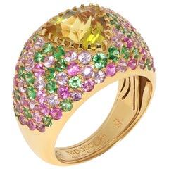 Beryl 2.13 Carat Tsavorites Pink Sapphires Yellow 18 Karat Gold Riviera Ring