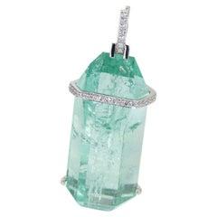 Beryl and Diamond Gold Pendant Natural Green Russian Emerald Beryl Necklace