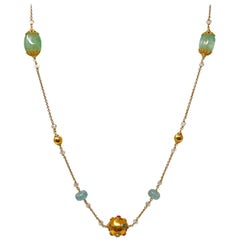 Beryl Aquamarine Gold and Precious Stone Sautoir Bead Necklace