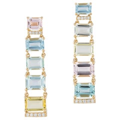 Beryl Baguettes Earrings with Diamonds