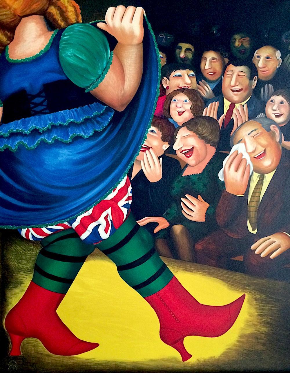 PANTO DAME Signed Lithograph, Woman Dancing, Union Jack, British Humor
