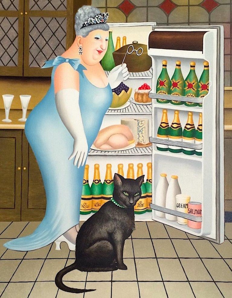 Beryl Cook Animal Print - PERCY AT THE FRIDGE Signed Lithograph, Black Cat, Champagne, British Humor