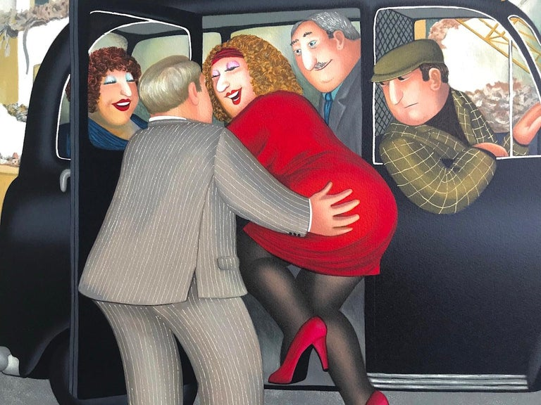 TAXI Signed Lithograph, Lady in Red, London Black Cab, British Humor - Print by Beryl Cook