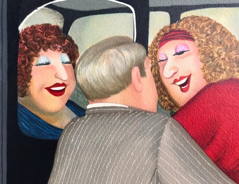 TAXI Signed Lithograph, Lady in Red, London Black Cab, British Humor - Contemporary Print by Beryl Cook