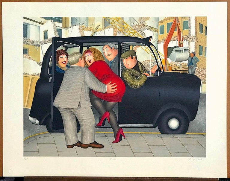 TAXI Signed Lithograph, Lady in Red, London Black Cab, British Humor For Sale 2
