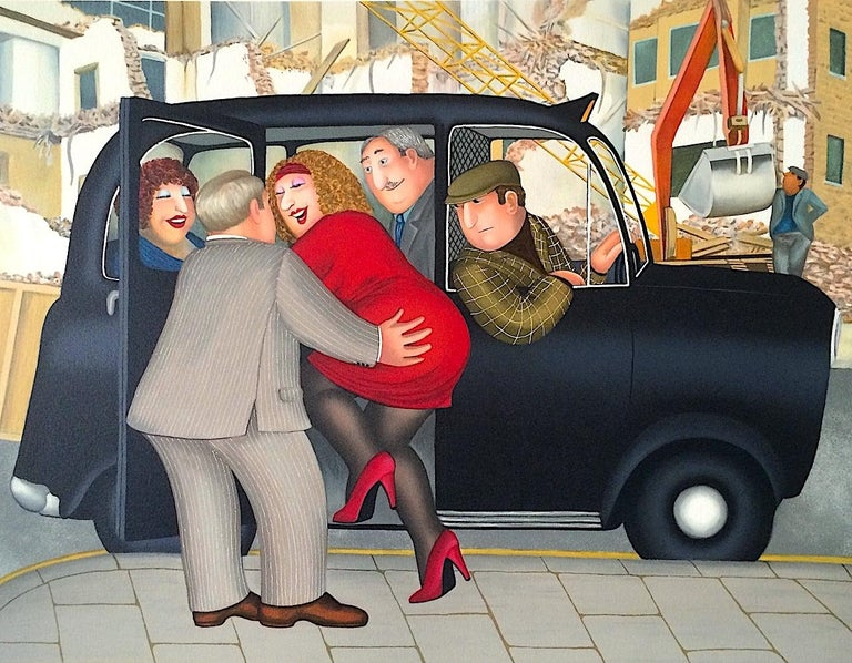 Beryl Cook Landscape Print - TAXI Signed Lithograph, Lady in Red, London Black Cab, British Humor