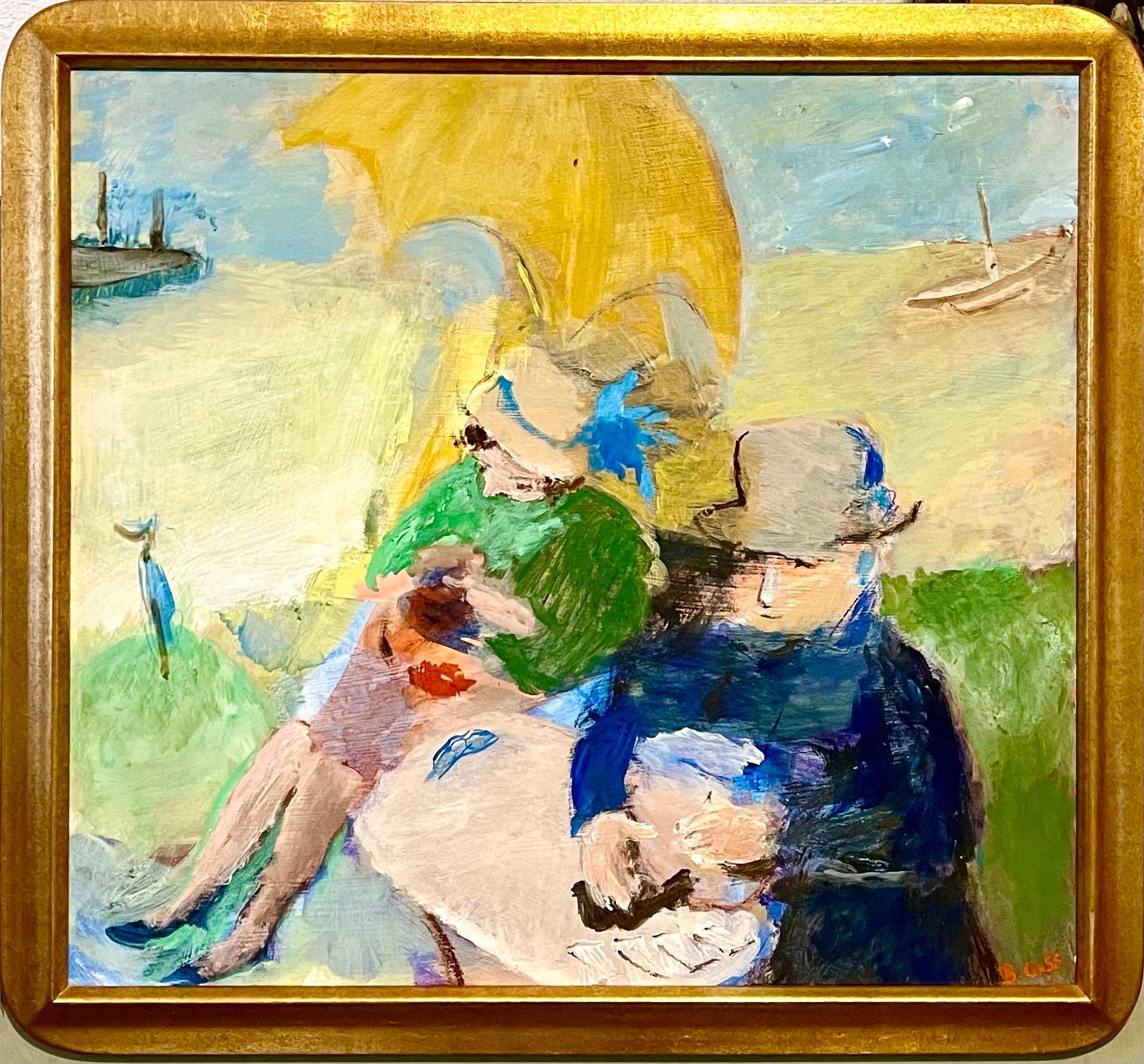 Fauvist Oil Painting French Beach Scene, Shore, Beryl Goss Post Impressionist