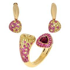 Beryl Pink Tourmaline Yellow Pink Sapphires Yellow 18 Karat Gold Riviera Suite
