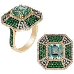 Beryl, Tsavorite and Diamond Octagon Pave Ring