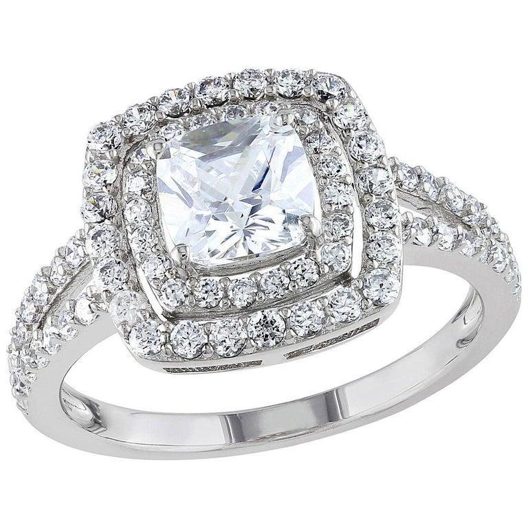 Princess Cut Bespoke 0.5-1 Carat Double Halo, Split Shank Diamond Engagement Ring For Sale