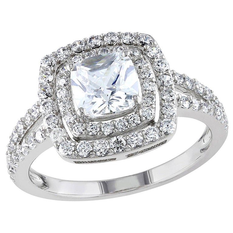 Bespoke 0.5-1 Carat Double Halo, Split Shank Diamond Engagement Ring For Sale