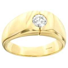 Bespoke 0.50 Carat Round White Diamond 18 Karat Yellow Gold Men's Signet Ring
