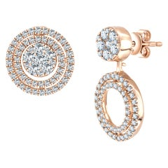 Bespoke 1.00 Carat Fancy Round Brilliant Diamond Cluster Drop Rose Gold Earrings