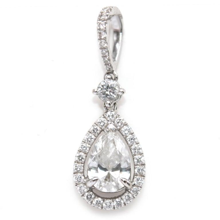 Bespoke 1.08 Carat Diamonds Encrusted White Gold Pendant For Sale 2