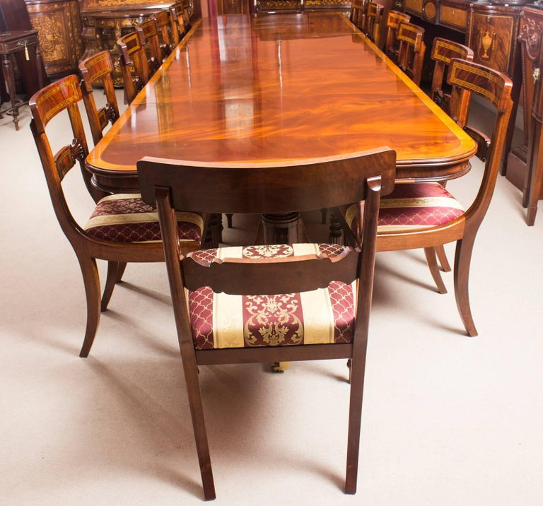 Bespoke Three Pillar Mahogany Dining Table And 16 Chairs