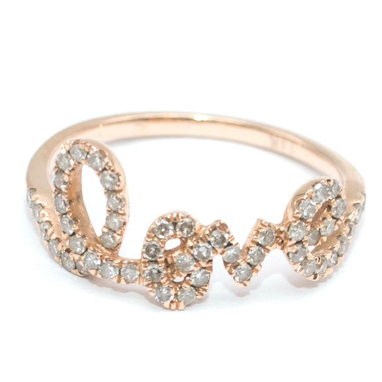 Bespoke 14 Karat Gold Diamond Love Ring In Excellent Condition For Sale In London, GB