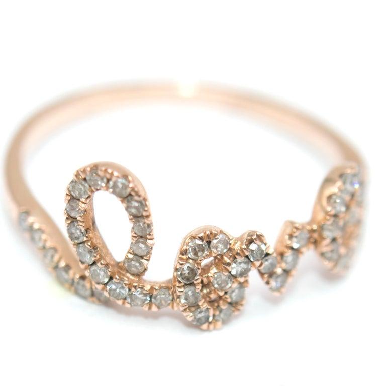 Women's Bespoke 14 Karat Gold Diamond Love Ring For Sale